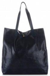Torba Skórzana Shopper Bag z Kosmetyczką Ciemno Granatowa