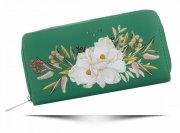Modny Portfel Damski XL we wzór kwiatów David Jones Multikolor Zielony