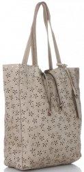Vittoria Gotti Premium Torebka Skórzana Ażurowy ShopperBag w stylu Vintage Beżowa