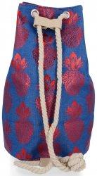 Modny Plecak Damski Pojemny Worek XL w modny wzór Ananasów Niebiesko Czerwony