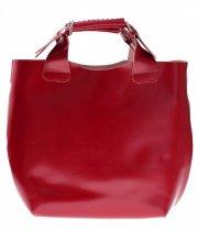 Torebka skórzana Shopperbag z kosmetyczką Czerwona