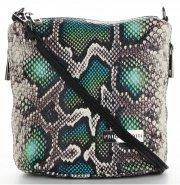 Vittoria Gotti Firmowa Listonoszka Skórzana Made in Italy w modny wzór Węża Zielona