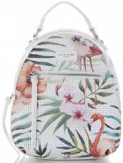 90afeced14c54 Modny Plecaczek Damski w Tropikalne Wzory firmy David Jones Multikolor Biały