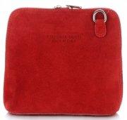 Małe Torebki Skórzane Listonoszki Vittoria Gotti wykonane w całości z Zamszu Naturalnego Czerwona