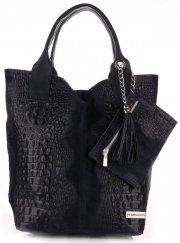 Torebki Skórzane VITTORIA GOTTI Made in Italy Shopper bag Aligator Granat