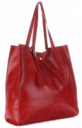 Torba Skórzana Shopper Bag z Kosmetyczką Czerwona