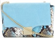 Vittoria Gotti Ekskluzywna Firmowa Listonoszka Skórzana Made in Italy w modny motyw węża Błękitna