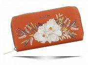 Modny Portfel Damski XL we wzór kwiatów David Jones Multikolor Pomarańczowy