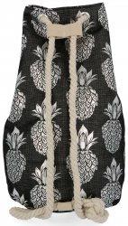 Modny Plecak Damski Pojemny Worek XL w modny wzór Ananasów Czarno Srebrny