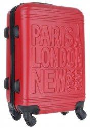 Modna Walizka Kabinówka Or&Mi Paris/London/NewYork 4 kółka Czerwona