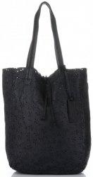 Vittoria Gotti Premium Torebka Skórzana Ażurowy ShopperBag w stylu Vintage Czarna