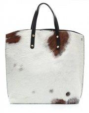 Torebka Skórzana Shopperbag z Kosmetyczką Krówka w Biało Brązowe Łatki