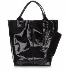 Kožená kabelka Shopper bag Lak černá