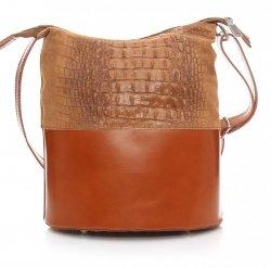 Kožená kabelka listonoška Genuine Leather aligátor zrzavá