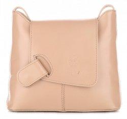 Kožená kabelka listonoška dokladovka béžová