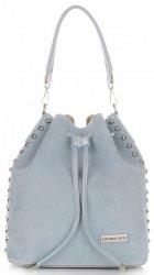 Módní kožená kabelka Vittoria Gotti Made in Italy s kosmetickou světle modrá