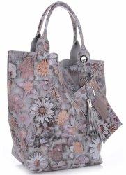 VITTORIA GOTTI Made in Italy Módní Kožená kabelka Shopperbag vzor v květech multicolor - šedá
