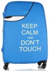 Pokrowiec na Walizkę firmy Snowball w rozmiarze L Keep Calm and don't touch Niebieski
