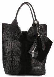 Torebki Skórzane VITTORIA GOTTI Made in Italy Shopper bag Aligator Czarna