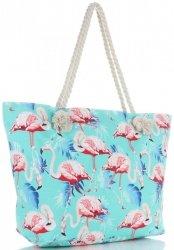 Uniwersalna Plażowa Torba Damska XXL Flamingi firmy Scarf's Multikolor Turkusowa