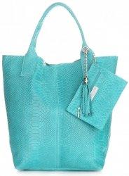 Włoskie Torebki skórzane typu Shopper bag Aligator Turkusowa