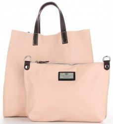 3ce03354133eb Praktyczne Torebki Skórzane 2 w 1 Shopper z Listonoszką firmy Genuine  Leather Pudrowy Róż