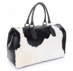Skórzany Kufer Made in Italy Czarno Biały