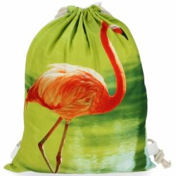 Plecaczki Damskie Praktyczny Worek w modny wzór flaminga Zielony