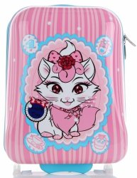 Modne Walizki Kabinówki Dla Dzieci wzór w kotki Multikolor - Różowa