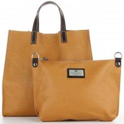 8494c819cee5d Praktyczne Torebki Skórzane 2 w 1 Shopper z Listonoszką firmy Genuine  Leather Ruda