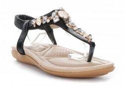 Modne Sandały Damskie ze zdobieniami Czarne