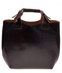 Torebka skórzana Shopperbag z kosmetyczką Czekolada