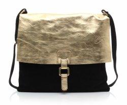 Módne kožené tašky v čiernej farbe so zlatom