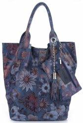 VITTORIA GOTTI vyrobené v Taliansku módne Kvetinová Kožená taška viacfarebná-Tmavo modrá