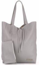 VITTORIA GOTTI módne kožené Shopperbag tašky s taškou Svetlo šedá