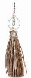 Taška na kľúče elegantný strapec vyrobený z pravej kože starožitného zlata