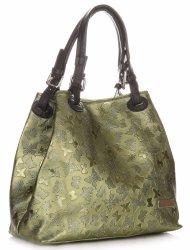 Elegantná Kožená taška Vittoria Gotti s motýľovým vzorom lakovaná Zelená