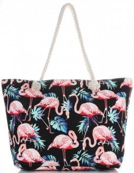 Univerzální Plážová dámská kabelka XXL plameňáci vícebarevný černá