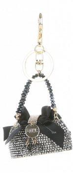 Přívěšek ke kabelce  Elegantní kabelka s mašličkou a zirkony stříbro s černou