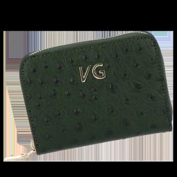 Dámská Kožená Peněženka pštrosí vzor Vittoria Gotti Made in Italy Lahvově Zelená