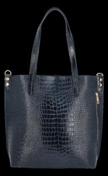 Vittoria Gotti Klasické Kožené Kabelky XL s motivem aligátora Tmavě modrá