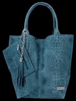 Italské Kožené Dámské Kabelky Shopper Bag Vittoria Gotti Mořská
