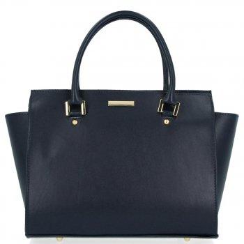 Módní kožená kabelka kufřík Tmavě Modrá