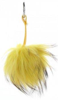 Přívěšek ke kabelce Pompon z přírodního vlasu mýval žlutý