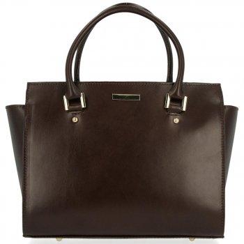 Módní kožená kabelka kufřík Čokoládová