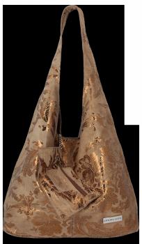 Módní Kožené Kabelky XL květinový motiv Vittoria Gotti Shopper s pouzdrem Zemitá