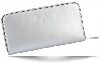 Vittoria Gotti Elegantní Dámská Kožená Peněženka Made in Italy Stříbrná
