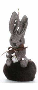 Přívěšek ke kabelce Brokátový králík s pomponem hnědý