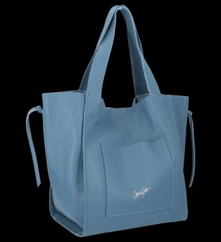 Vittoria Gotti Italské Kožené Dámské Kabelky Shopper Bag Modrá