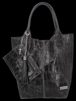 Univerzální Kožené Kabelky Shopper Bag XL se zvířecím motivem Vittoria Gotti Grafitová